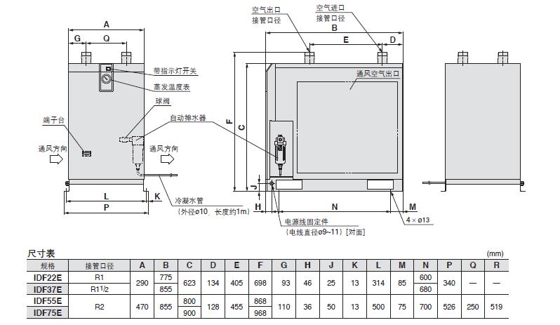 idf22e~55e 冷冻式空气干燥器|快易优自动化选型大全